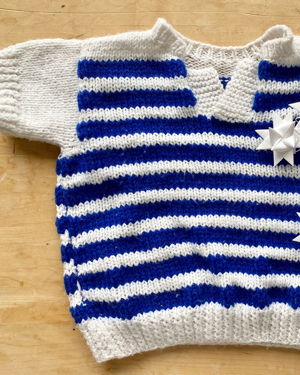 Handknit Stripe Short Sleeve Sweater Toddler