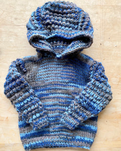 Handknit Space Dye Hooded Sweater Toddler