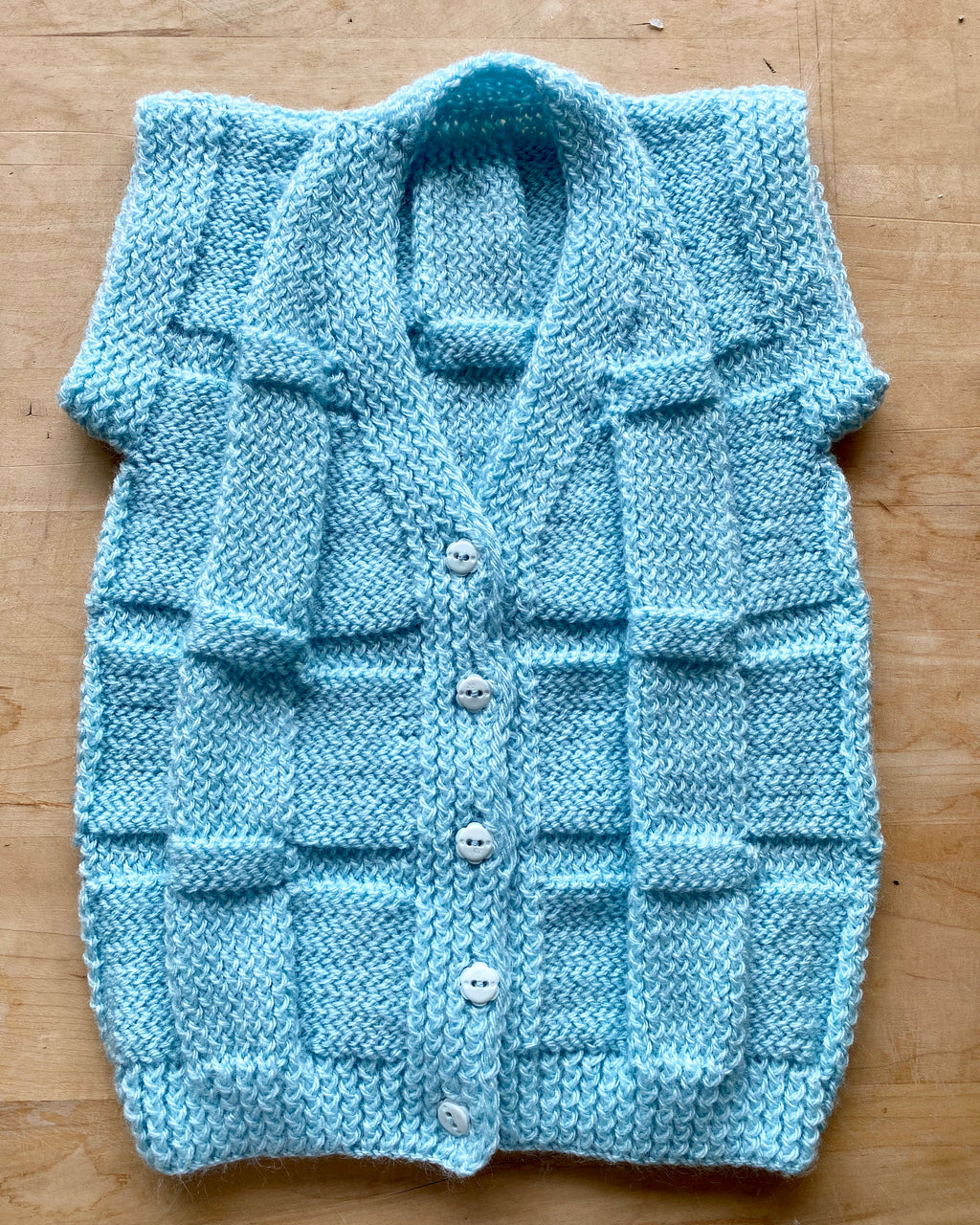 Handknit Light Blue Basket Weave Vest Sweater Toddler