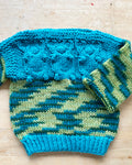 Handknit Green Space Dye Cable Sweater Toddler