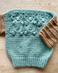 Handknit Moss Space Dye Cable Sweater Toddler