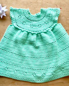 Handknit Neon Green Pointelle Dress Sweater Baby