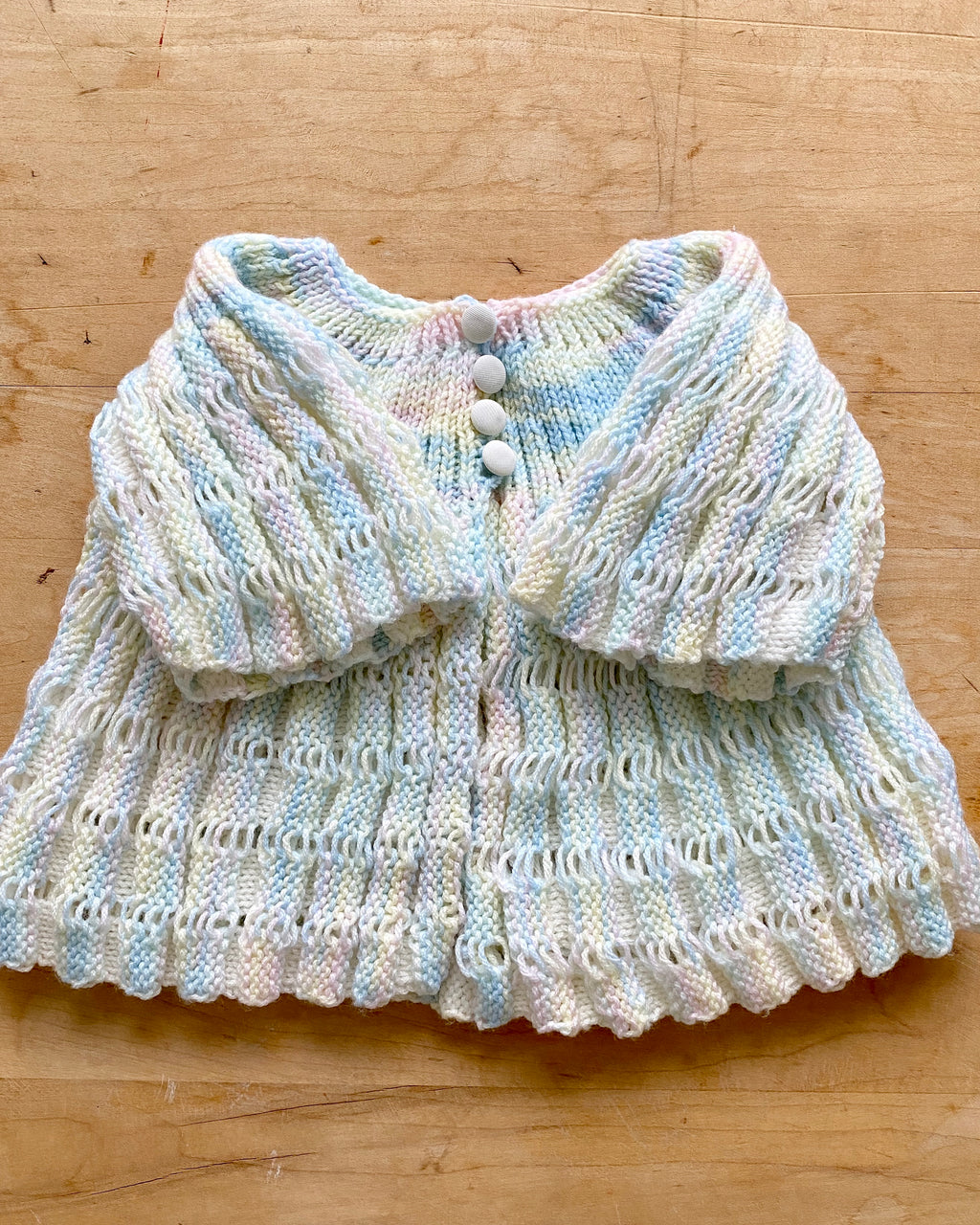Handknit Angel Space Dye Pointelle Cardigan Baby