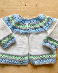 Handknit Pointelle Yoke Cardigan Sweater Baby