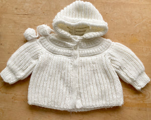 Handknit Chubby Rib Hooded Jacket Sweater Toddler