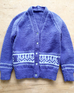 Handknit Purple fair Isle Cardigan Toddler