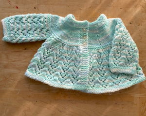 Handknit Pointelle Space Dye Cardigan Baby