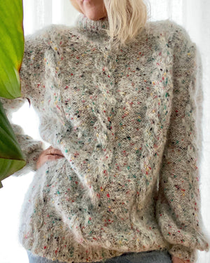 VINTAGE Light Grey Mohair Cable Sweater
