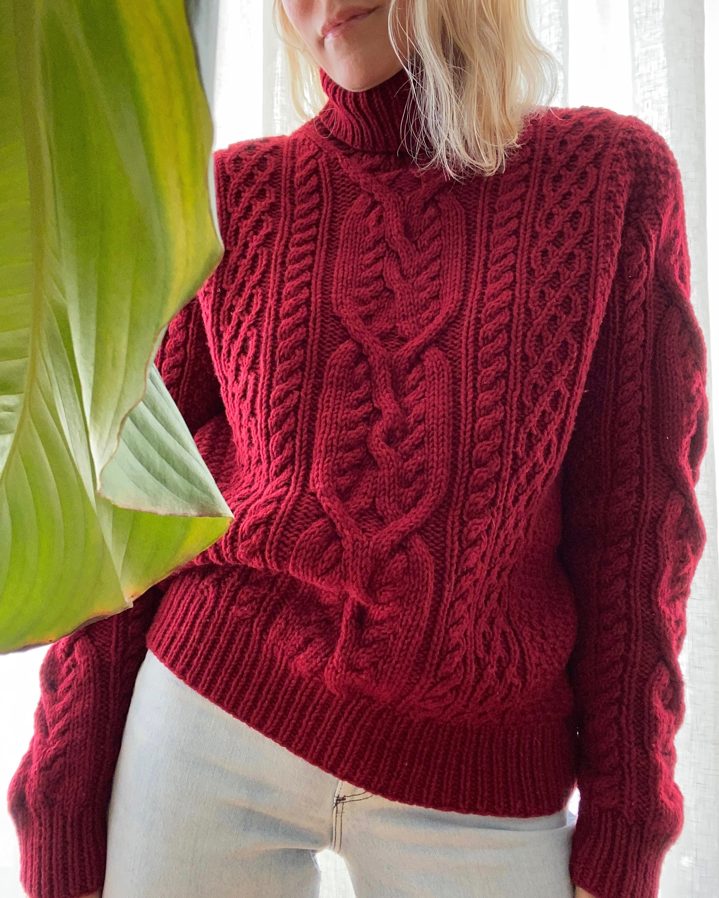 Pre Loved LAUREN Handknit Cable Turtleneck