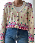 VINTAGE Pastel Bobble and Hearts Cardigan