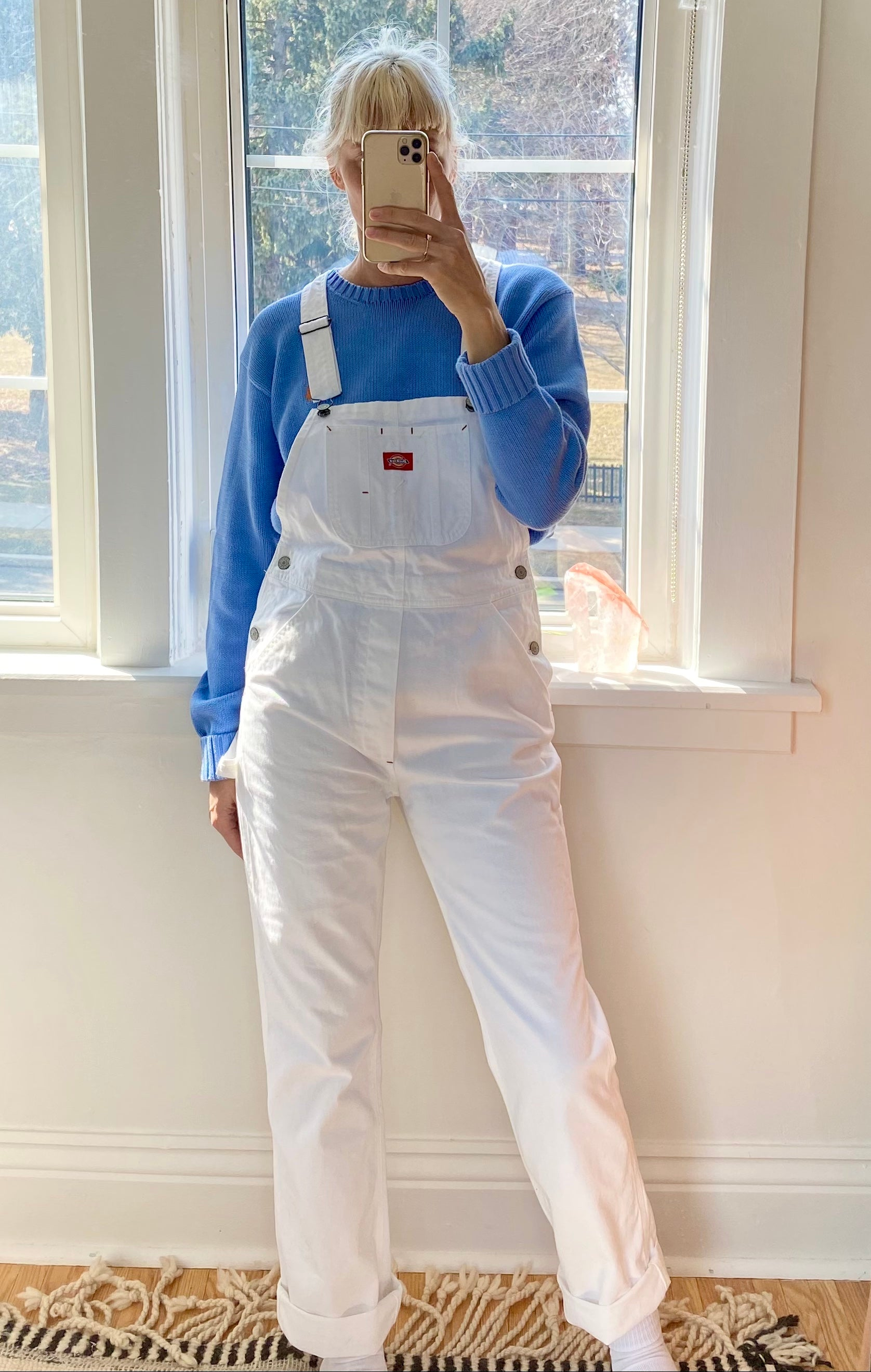DICKIES White Carpenter Overalls Size SM