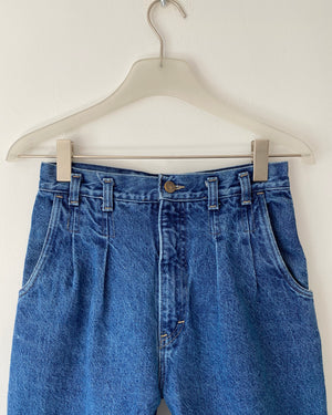 Vintage High Waisted Pleated Medium Wash Jeans size 27