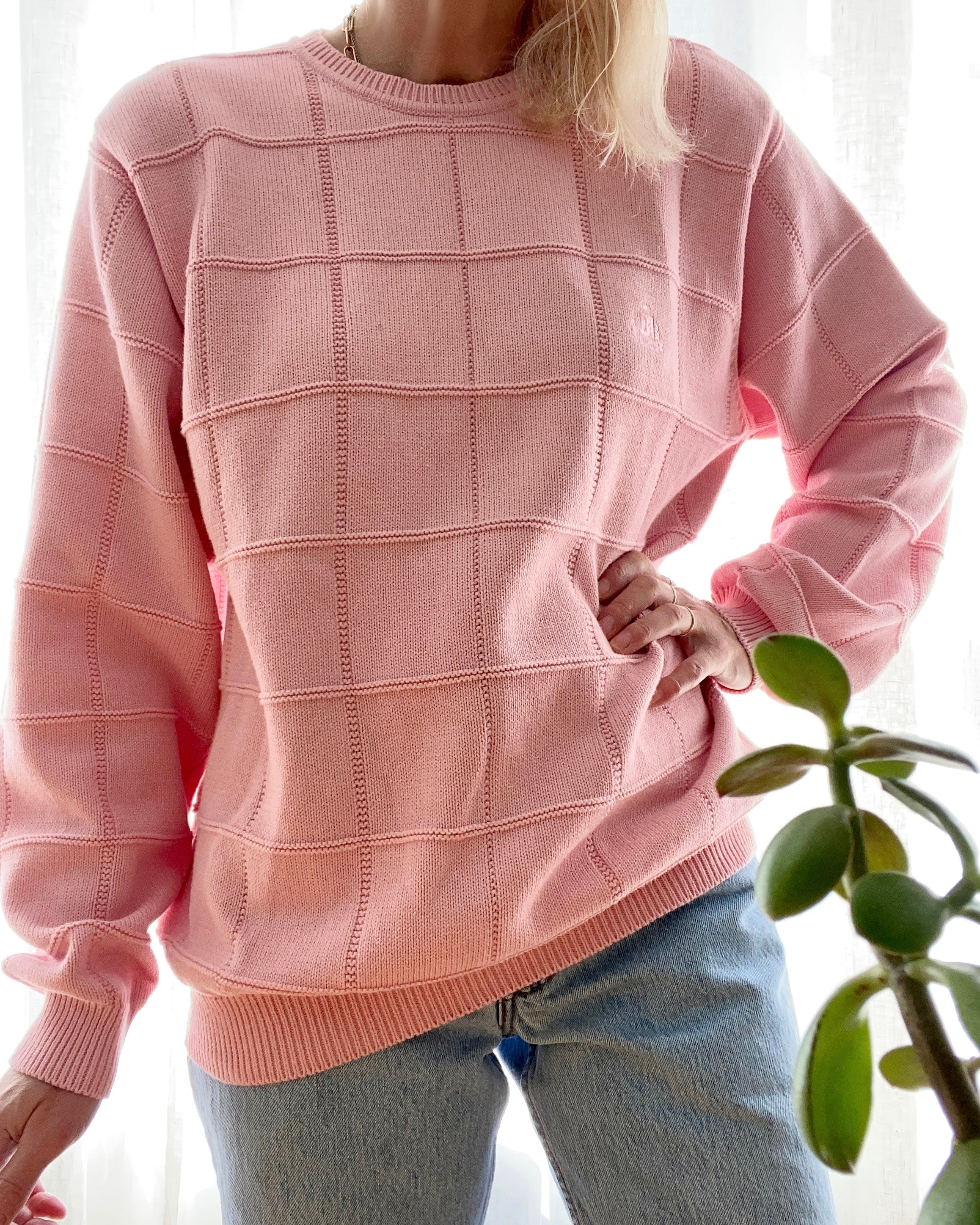 Pre Loved IZOD Bubblegum Pink Cotton Sweater Oversized