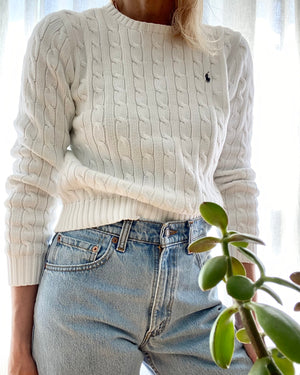 Ralph Lauren White Cable Cotton Sweater Size M