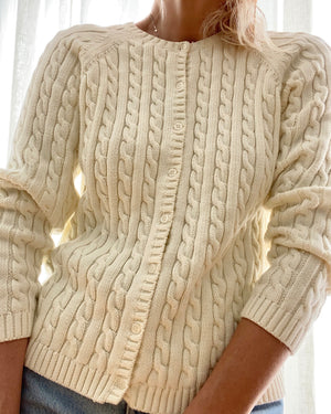 LLBEAN Cream Cable Cotton Cardigan Size M