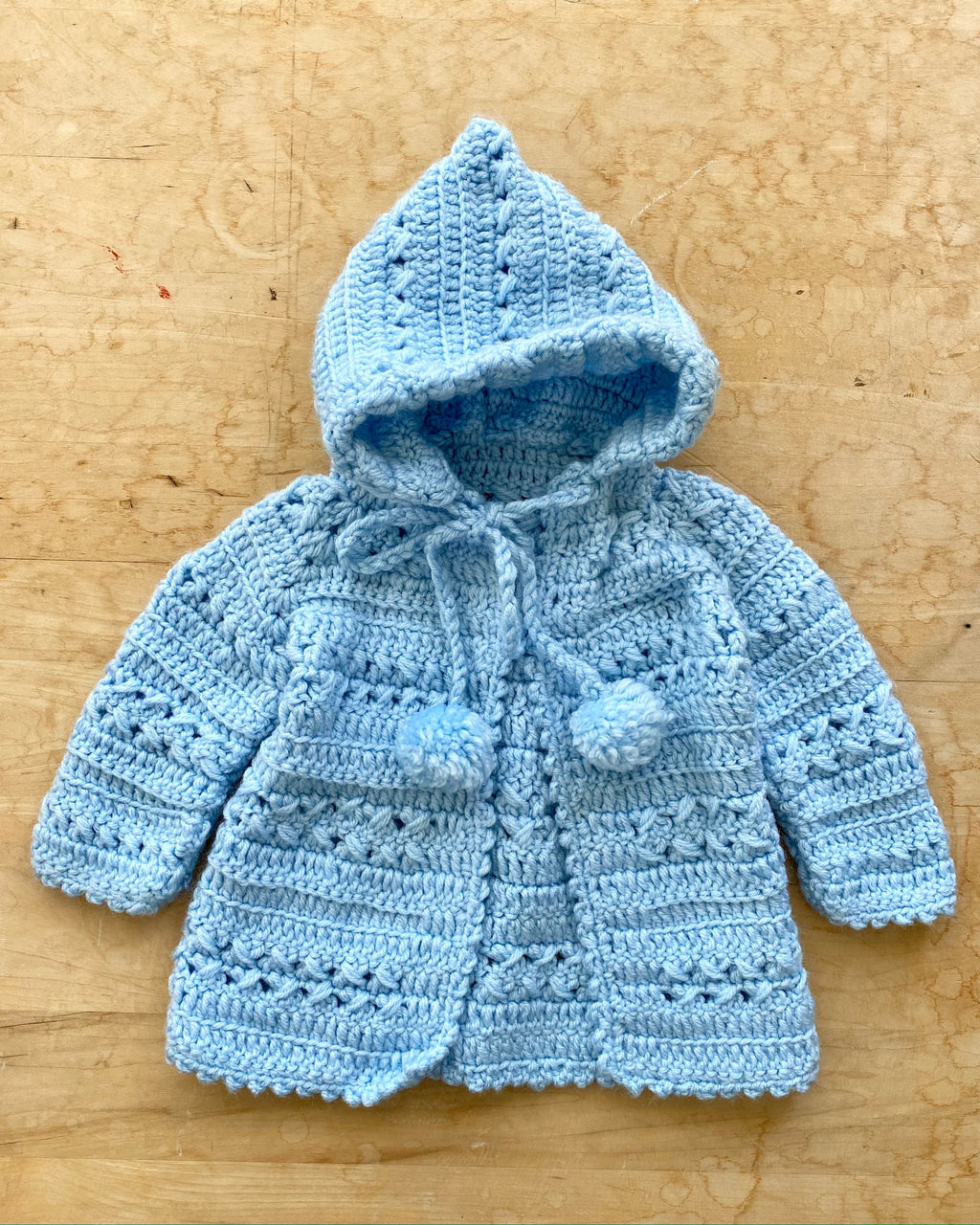 Handknit Multi Stitch Light Blue Cardigan with Hood Baby