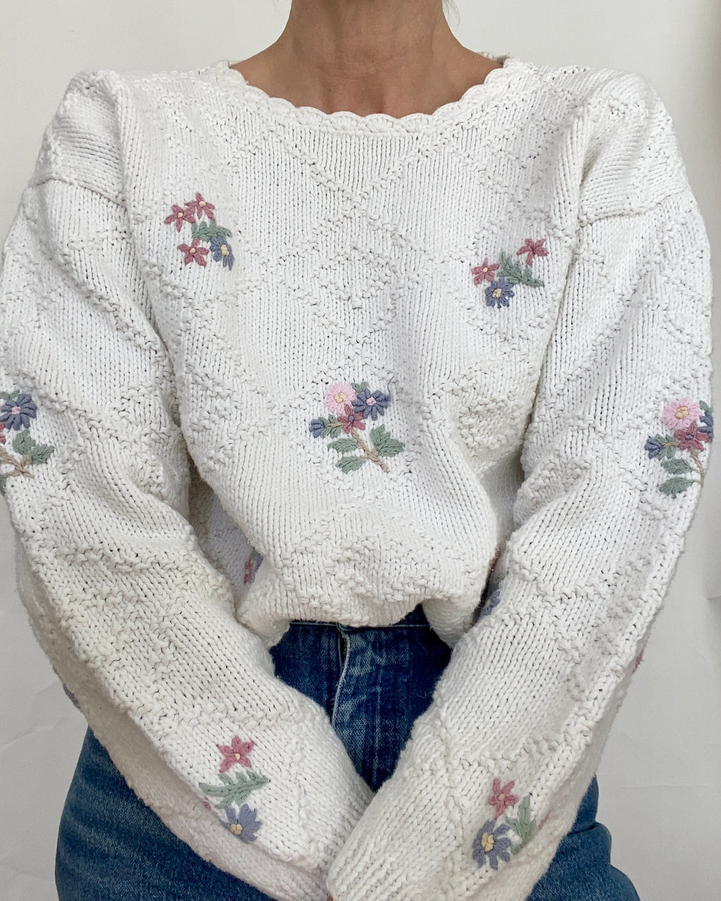 Vintage Ivory Cotton Sweater with Floral Embroidery Size L