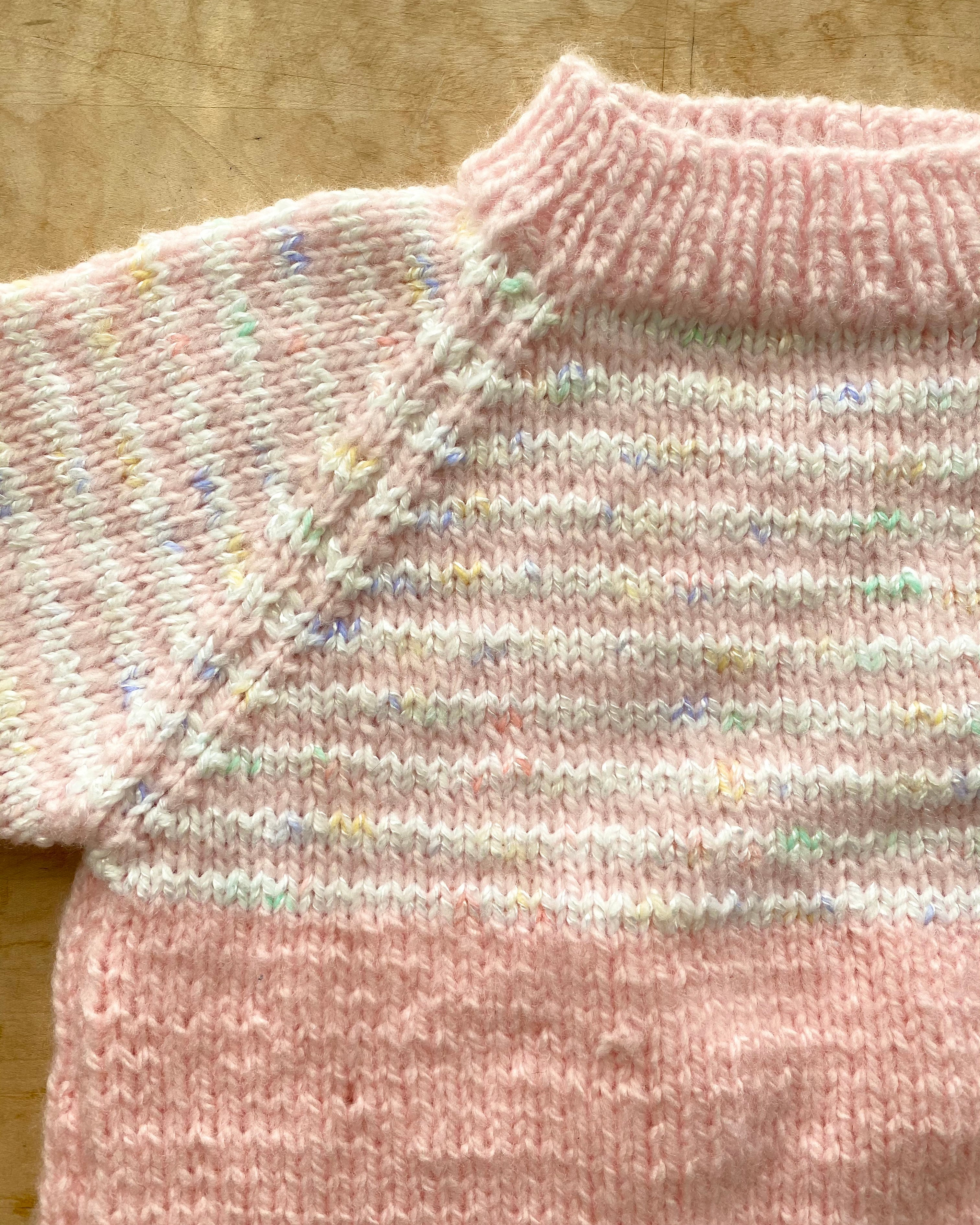Handknit Pink Space Dye Sweater Toddler