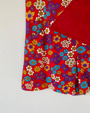 "Vintage 1960s Floral Red Tennis Dress ""SKORT"" size S"