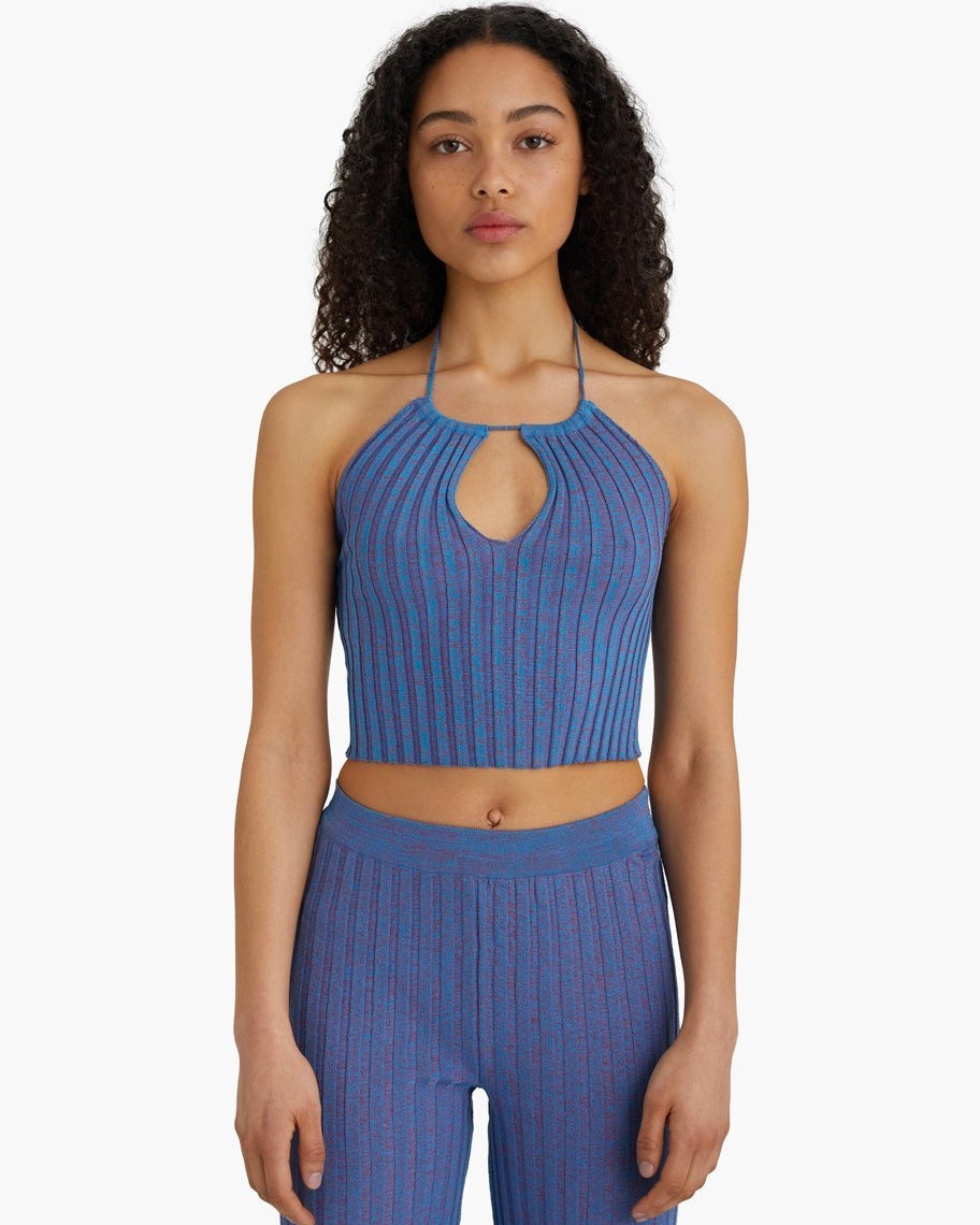 PALOMA WOOL BLOCK Rib Top Blue