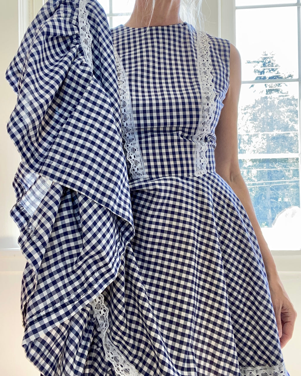 VINTAGE Blue Gingham and Lace Full Circle Dress