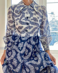 VINTAGE 1970s Blue and White Tea Cup Print Dress