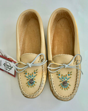 BASTIENS Beaded Moccasins Slippers in Moose Hide