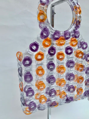 EE Handcrafted Products Large Square Vinyl Handbag Purple & Orange Stripe