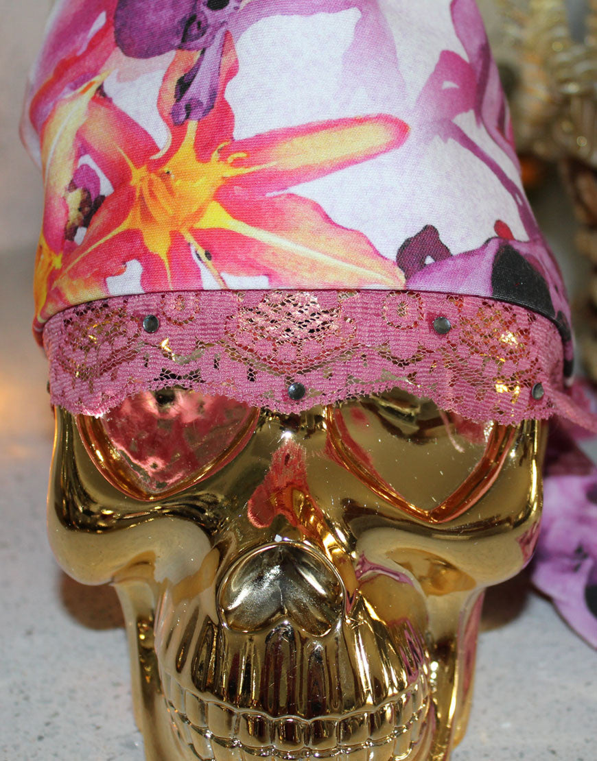 Pink Abstract Skull Bandana