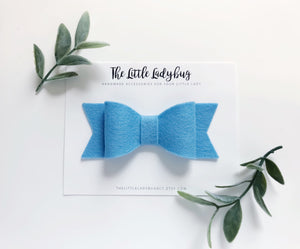 Baby Blue Sadie Bow on Headband or Clip