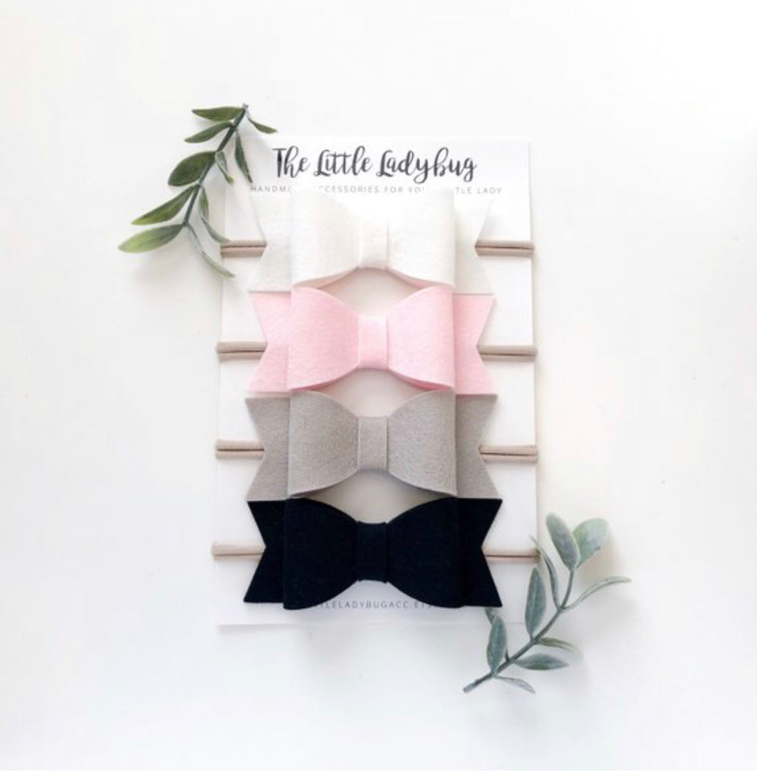 Ballerina Sadie Bow Set on Headband or Clip | Four Wool Felt Hair Bows in White, Light Pink, Cement, Black