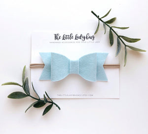 Barely Blue Sadie Bow on Headband or Clip