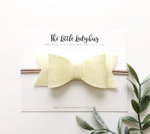 Barely Yellow Sadie Bow on Headband or Clip