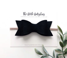 Black Sadie Bow on Headband or Clip