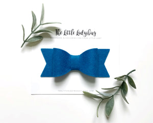Girl Scout Sadie Bow Set on Headband or Clip | Four Wool Felt Hair Bows in Camel, Dark Olive Green, Blue Jeans, Brown