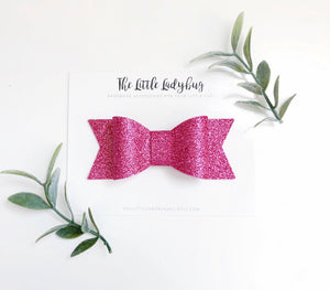 Mermaid Glitter Sadie Bow Set on Headband or Clip | Three Glitter Hair Bows in Emerald, Blush Pink, Lavender Purple