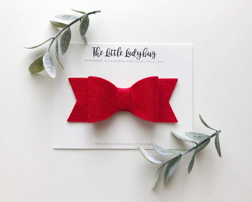 Bright Red Sadie Bow on Headband or Clip