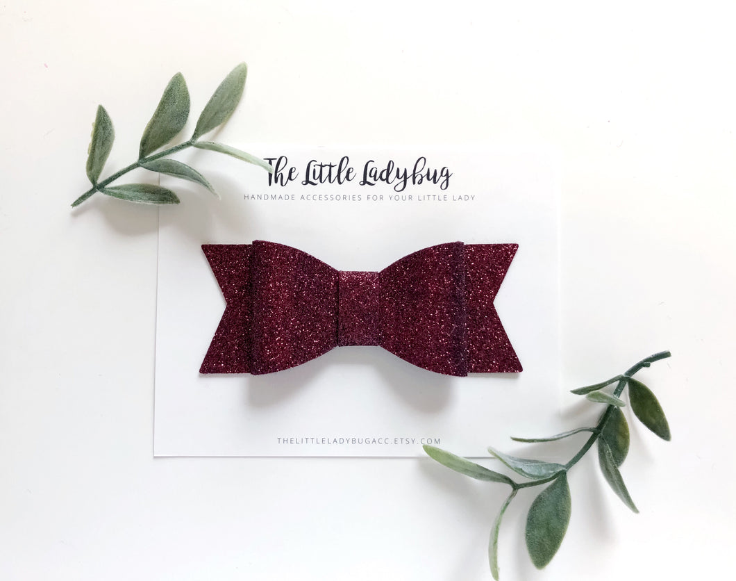 Burgundy Glitter Sadie Bow on Headband or Clip