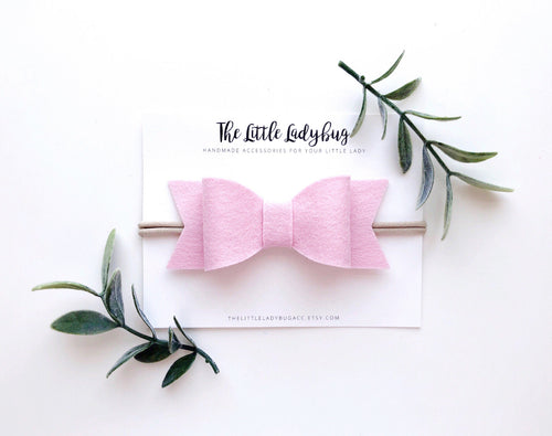 Carnation Pink Sadie Bow on Headband or Clip