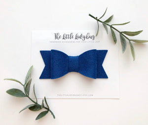 Cobalt Blue Sadie Bow on Headband or Clip