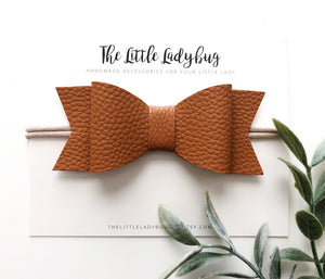 Leather Sadie Bow Set on Headband or Clip | Four Faux Leather Hair Bows in Cognac, Teal, Pink Pearl, Gold