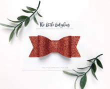 Copper Glitter Sadie Bow on Headband or Clip