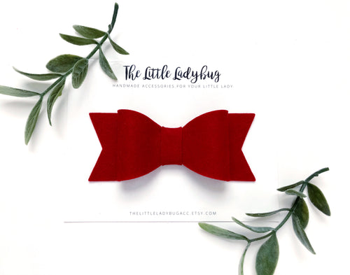 Crimson Red Sadie Bow on Headband or Clip