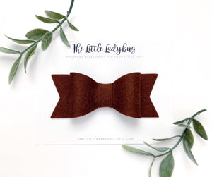 Dark Brown Sadie Bow on Headband or Clip