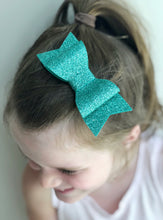 Emerald Green Glitter Sadie Bow on Headband or Clip