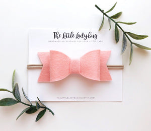 French Peach Sadie Bow on Headband or Clip