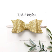 Gold Faux Leather Sadie Bow on Headband or Clip
