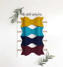 Harvest Sadie Bow Set on Headband or Clip | Four Wool Felt Hair Bows in Wine, Ocean, Navy, Mustard
