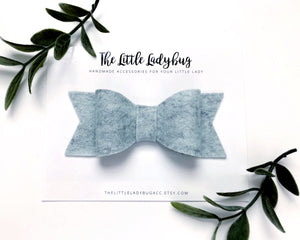 Heather Blue Sadie Bow on Headband or Clip