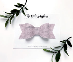Sweater Weather Sadie Bow Set on Headband or Clip | Four Wool Felt Hair Bows in Heather Pink, Heather Blue, Heather Green, and Heather Yellow